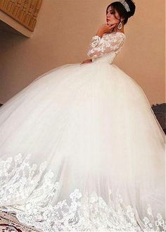 Buy discount Wonderful Tulle Jewel Neckline Ball Gown Wedding Dresses With Lace Appliques at Laurenbridal.com #weddingdress