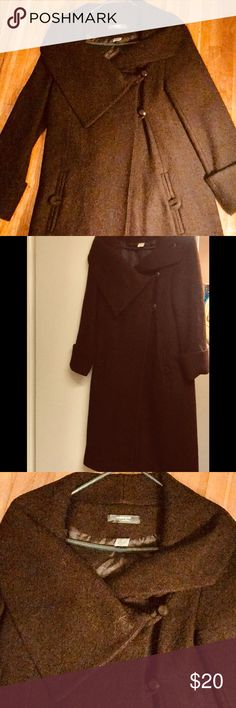 Long brown wool coat, asymmetrical collar Long brown wool coat, asymmetrical neckline/collar, 2 button, pockets, only worn once. Bought from Chadwick's- Brand La Refoute Creation Chadwicks Jackets & Coats