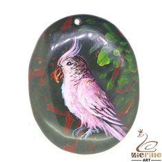 Beautiful Pendant Hand Painted bird Natural Gemstone bag Accessory ZL802683 #ZL #Pendant