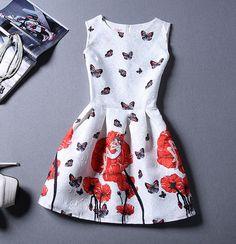New Butterfly Patternc Sleeveless Vest Dress For Women