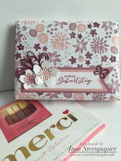 Stampin Up, Geschenkverpackung Merci, InColor 2016-2017, Designerpapier Blühende Fantasie, Geburtstag, Give Away,