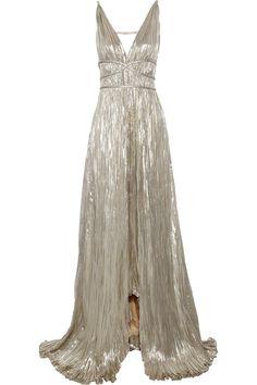 Oscar De La Renta Pleated Lamé Gown in Silver (gold) | Lyst