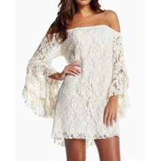 Sexy Boat Neck Solid Color Off-The-Shoulder Trumpet Sleeve Women's Lace Dress #men, #hats, #watches, #belts, #fashion, #style