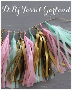 DIY Tissue Paper Streamer Garland~ a great decorating idea for a holiday, a party, a bridal or baby shower or any other celebration.