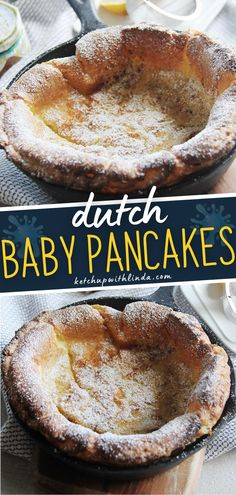 German pancake is a great alternative to morning pancakes and waffles! Browned butter makes this pancake even better! Make this easy breakfast recipe with simple ingredients! Best Breakfast Recipes, Breakfast Bake, Breakfast Items, How To Make Breakfast, Brunch Recipes, Sweet Recipes, Baby Pancakes, German Pancakes, Pancakes And Waffles