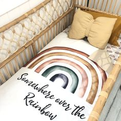 """Somewhere over the rainbow 🌈 . Hope you love one of our new cot quilts! I also have panels coming that says """"after every storm comes a… Rainbow Bedding, Rainbow Nursery, Rainbow Quilt, Rainbow Room, Rainbow Baby, Over The Rainbow, Cot Quilt, Nursery Bedding, Girl Nursery"""