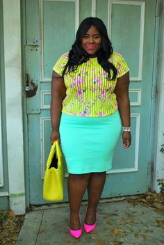 Musings of a Curvy Lady, Fashion Blogger, Plus Size Fashion , Plus Size Fashion Blog, Celeb Inspo, Mindy Kaling, The Mindy Project, Pastels and Neon, Neon Pumps