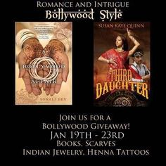 ***WIN*** Paperback of Third Daughter (The Dharian Affairs #1) The Dharian Affairs Trilogy in Ebook 2 Paperback copies of A Bollywood Affair Handwoven Pashmina shawl from India Sticker Henna Tattoos Indian bangles (bracelets) (all physical prizes are US ONLY; ebook is INTERNATIONAL) Three Daughters, Fantasy Romance, First Daughter, Gift Card Giveaway, Bollywood Fashion, Book Publishing, Great Books, Affair, Indian Bangles