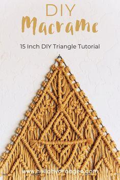 15 Inch DIY Macrame Triangle Class Video Instructions and Mason Jar Crafts, Mason Jar Diy, Triangles, Macrame Projects, Diy Projects, Project Ideas, Galaxy Bath Bombs, Micro Macrame, Macrame Knots