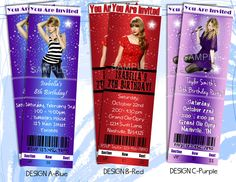 TAYLOR SWIFT Party Invitation - Printable ticket style birthday invitation customized with your party details. Concert Ticket