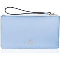 Kate Spade Sky Blue Karolina Leather Wristlet ($80) ❤ liked on Polyvore featuring bags, handbags, clutches, blue wristlet, sky blue handbag, leather handbags, blue handbags and zipper wristlet