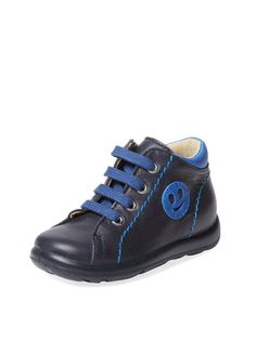 Spazzolato Nappa Azzurro Bianco Giallo Sneaker by Naturino at Gilt