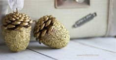 Glittery Acorn Christmas Ornaments You Won't Believe You Can Make Yourself