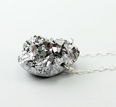 Silver necklace: amethyst druzy necklace, titanium necklace, drusy pendant, handmade jewelry sparkly drusy jewelry by NatureLook gray grey. $85.00, via Etsy.