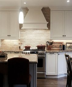 Beautiful Kitchen With White Subway Tiles As A Backsplash