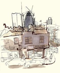 lucinda rogers drawing ink watercolour cityscape street scene london life construction gherkin rooftops skyline