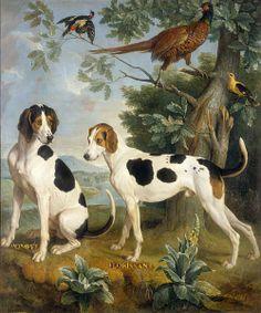 Pompée et Florissant, chiens de la meute de Louis XV (par Alexandre-François Desportes; château de Compiègne)