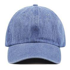 The Hat Depot 300N Washed Cotton Low Profile Denim Baseball Cap Denim Blue      abdf7038b241