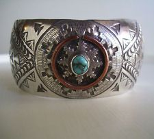 Wedding Basket Navajo Sterling Silver Copper Overlay Turquoise Cuff Bracelet
