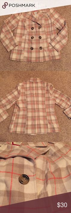 Old Navy Cream and Coral Checkered Pea Coat Gently Worn • True to Size • Cream and Tan Checkered with Coral Accent Stripes • Buttons • Pockets • Outside : 62% Polyester and 38% Wool • Lining : 100% Polyester Old Navy Jackets & Coats Pea Coats