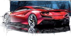 Car Design Sketch on Ferrari Tributo Official Sketches by Flavio Manzoni flaviomanzoni , Design Director at Ferrari New Ferrari, Ferrari Laferrari, Car Design Sketch, Car Sketch, Most Expensive Supercars, Industrial Design Sketch, Car Drawings, Koenigsegg, Transportation Design