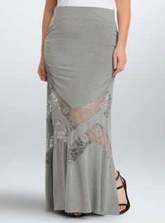 """<p>Maximum impact with minimal effort = this maxi skirt. The clingy, yet stretchy, grey knit goes above and beyond with flattering ruched sides (hello booty). Lace insets trim the flowy skirt, putting a unique spin on the sweeping style.</p>  <ul> <li>Size 1 measures 38 3/4"""" from center front</li> <li>Rayon/spandex/nylon</li> <li>Wash cold, line dry</li> <li>Imported plus size skirt</li> </ul>"""