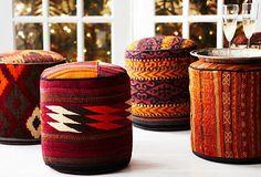 Vintage style kilim poufs
