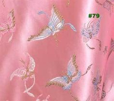 Asian pink butterfly CHINESE BROCADE TAPESTRY ARt. Silk FABRIC PER meter