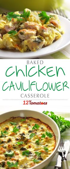 Chicken Spinach Cauliflower Casserole:  This dish is a tasty one where cauliflower isn't quite the main event, but it adds to the overall flavor and really makes the meal special. Along with chicken and spinach, this casserole has just enough going on to be interesting and delicious, without being too complicated or difficult to make perfect for any weeknight dinner!