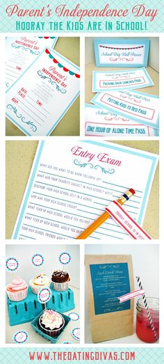 Summer is over and it's time to celebrate!!! I can't think of a better way then with this back to school party for parents! Printables are awesome!!!. www.TheDatingDivas.com