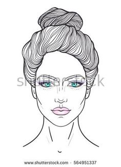 Beautiful girl face with top bun hair style and neutral expression. Hand drawn woman portrait stylized in lines. Decorative vector illustration