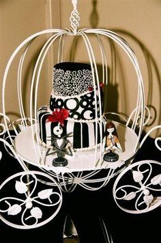 Tim Burton wedding cake. It's Cinderella meets Tim Burton.