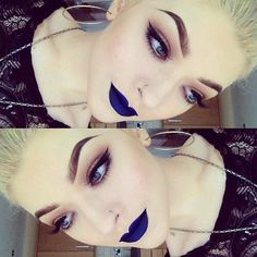 ♡ HONESTLY how many people in the world can make blue lipstick look as AMAZING as she does. I know I cant! - make-up, lips, blue