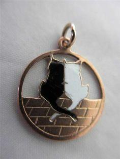 Antique Edwardian 9ct Gold Black White Enamel Pussy Cat Pendant Charm 5422   eBay