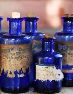 Deep Cobalt Blue, Antique Bottles Find these in the woods when we are surveying…