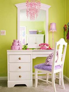 Cute for a little girls room!  Wake up an old desk set with a fresh coat of paint, and add in a mirror to create an instant vanity. The top of the desk can hold a large spread of beauty accouterments as well as books, a laptop, and a notebook for study time. Add a few final touches by reupholstering the chair and decorating with girly accents. Little Girl Bedrooms, Girl Rooms, Girls Bedroom, Bedroom Decor, Bedroom Ideas, Old Desks, Mirror Vanity, Vanity Desk, White Vanity