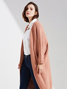 Casual Loose Solid Knitted Long Sleeve Sweater Cardigan For Women