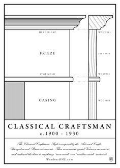 From the WindsorONE Classic American Molding Collection, this historically accurate Classical Craftsman Style is inspire Summer Arts And Crafts, Arts And Crafts For Adults, Arts And Crafts House, Easy Arts And Crafts, Craftsman Trim, Craftsman Interior, Craftsman Style Interiors, Craftsman Houses, Door Molding