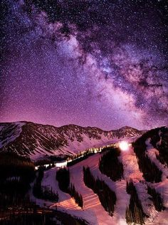 "The Milky Way above Arapahoe Basin (""A-Basin"" or ""The Basin"") in Colorado -- beautiful at night!!"