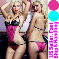 XS-M NEW women sexy PINK lingerie open bust teddies babydoll cute bodysuits#74