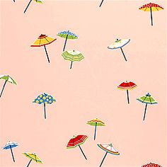 Umbrella #wallpaper in #pink from the Spring Lake collection. #Thibaut