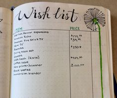 Bullet journal Wish List layout