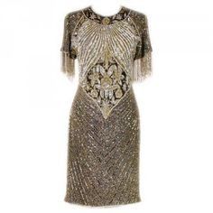 Silver Beaded Vintage Silver Beaded Fringe Dress