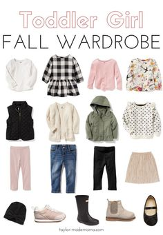 Staple pieces for your toddler girl fall wardrobe this year. These wardrobe pieces are affordable, adorable AND work together for the ENTIRE season. CLICK THROUGH TO SHOP! toddler fashion   fall clothes for toddler girls   toddler style