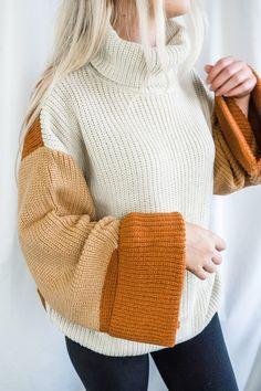 Pumpkin n' Cream Oversized Color Block Sweater - Large