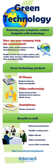 ***Reducing the Carbon Footprint of your Business  ***Infographic that explains how your business can help the enviroment, reduce costs, increase employee morale and productivity. Green technology allows businesses to function more effeciently and make better decisions involving more people, it does this by connecting multiple staff located in multiple offices all over the world.   ***  http://www.interact-technology.com/reducing-the-carbon-footprint-of-your-business-infographic/