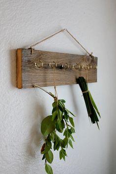 Herb Drying Rack - Eco friendly Barnwood Dried herb rack - wall key rack. $35.00, via Etsy.