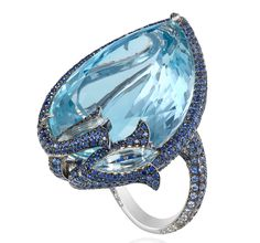 Chopard Ring - the gem shaping alone!  From the Red Carpet collection in white gold 18ct set with a pear shaped aquamarine (58.44 cts), sapphires (5.73 cts), aquamarines and diamonds.