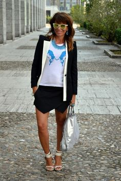 Francesca Romana Capizzi in BLUE Chimaera - SJF Company Woman Collection http://www.dontcallmefashionblogger.com/2013/09/zara-skorts-part-2-roma-eur.html?m=1