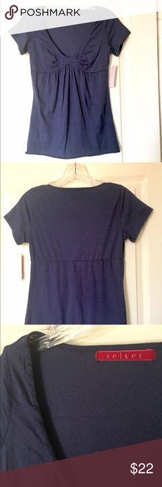 Velvet by Graham & Spencer Navy Blue T-Shirt Navy blue scoop neck pleated t-shirt by Velvet by Graham & Spencer. Size small, brand new and never been worn or sold in a retail store. Price was set at $79. Velvet Tops Tees - Short Sleeve